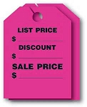 280 Mirror Hang Tags Fluorescent (50) PINK and YELLOW